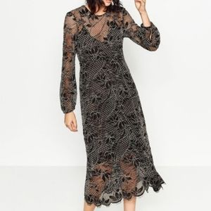 Zara Lace Midi Fit and Flare Dress Size S